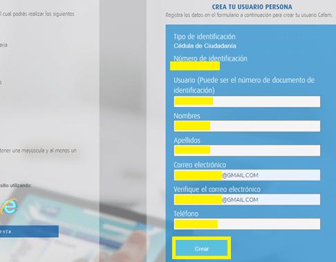 Confirmar los datos del usuario de Cafam