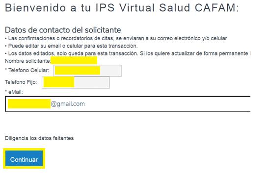 Datos de usuario Cafam IPS