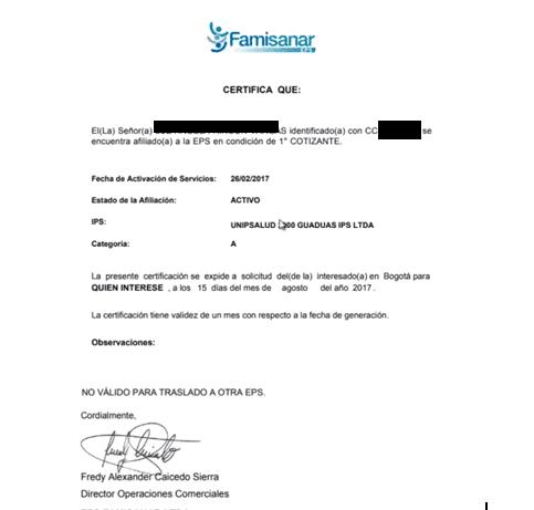 Famisanar, solicitud de citas médicas 10