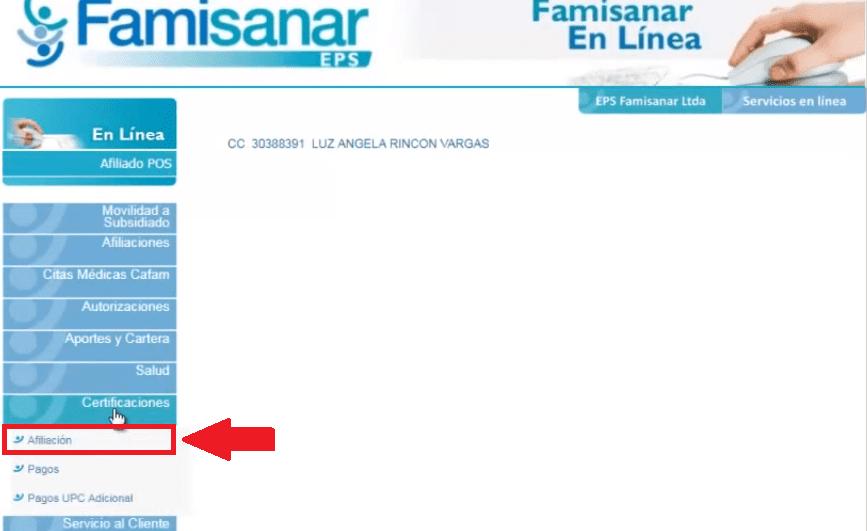 Famisanar, solicitud de citas médicas 7