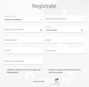 Registro en Mydatacredito