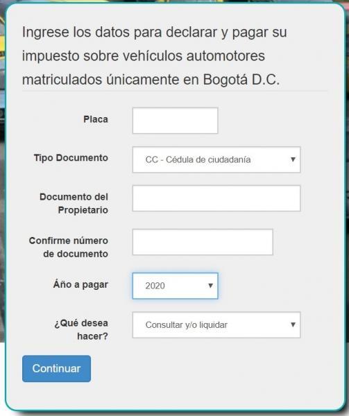 Impuesto sobre los automóviles de Bogotá 2020